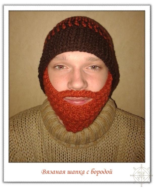 вязаная шапка с бородой купить по цене 900 руб от автора